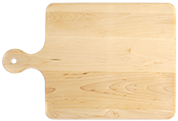 Wood cutting board with rounded handle