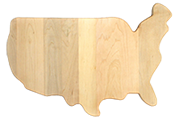 Map of the USA shaped wood cutting board