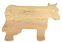 Cow shaped maple cutting board