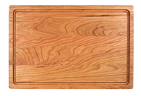 Wood board juice groove cherry