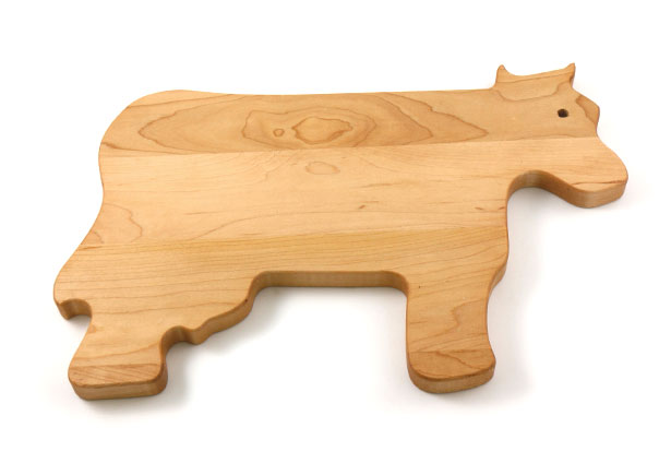 Cow Shaped Maple Wood Cutting Board, Custom Engraving, Made in Canada