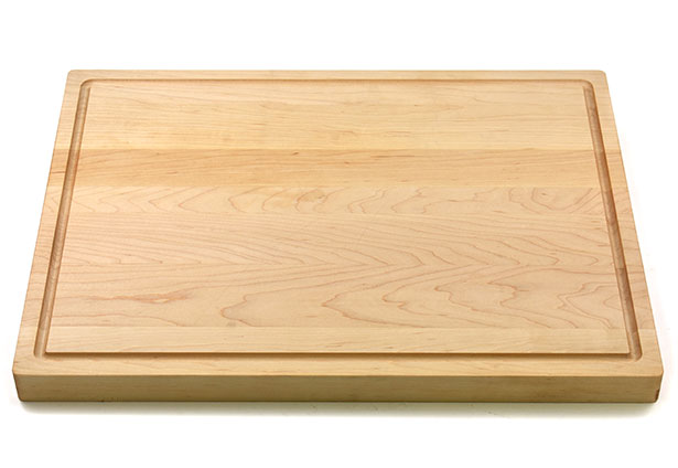 Flat grain butcher board with juice groove