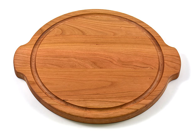 Round Serving Tray / Cutting Board with handles & Juice Groove