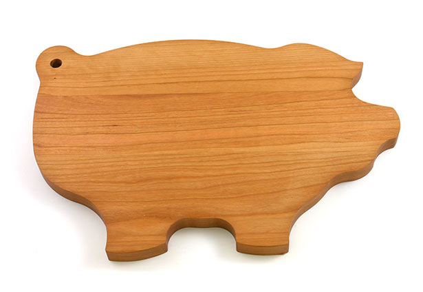 Pig-Shaped Cherry Wood Cutting Board, Personalized Engraving, Made in Canada