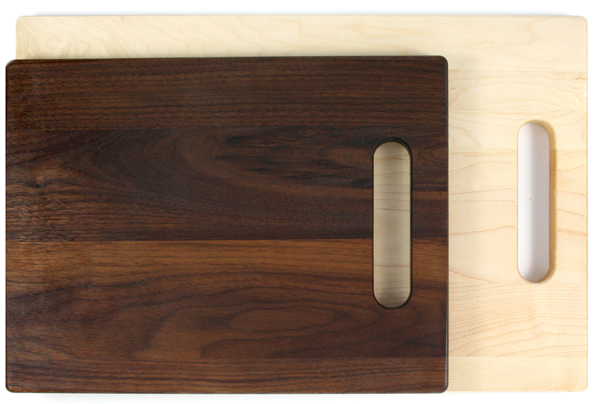 Maple and walnut cutting boards with handle
