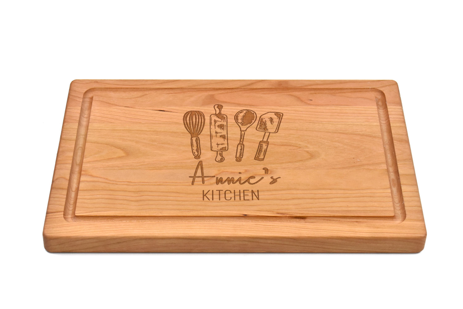 Cherry Rectangular cutting board with rounded corners & juice groove