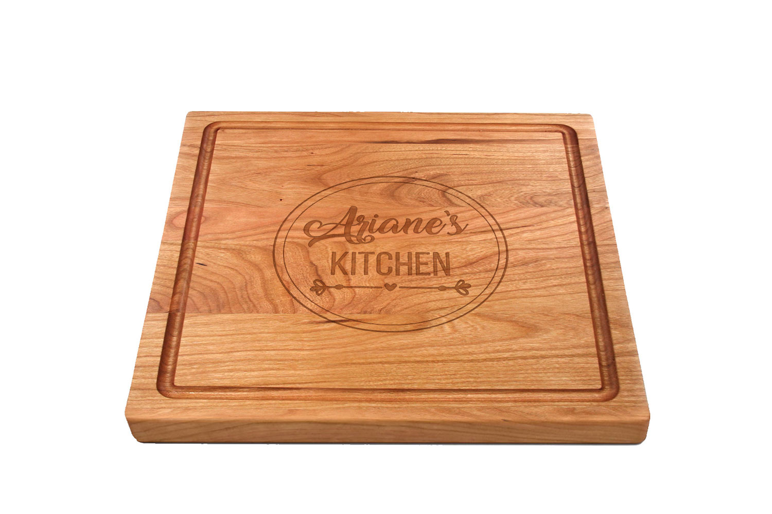 Square maple cutting board with rounded corners & juice groove