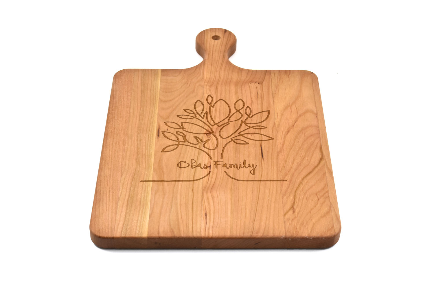 Cherry Wood Cutting Board with Rounded Handle, Custom Engraved, Chopping Board, Presentation Board, Made in Canada