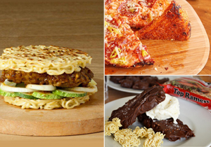 Ramen burger, pizza, ice cream